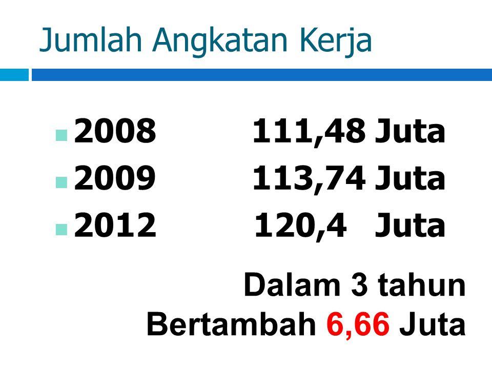 Jumlah Angkatan Kerja 2008 111,48 Juta. 2009 113,74 Juta.
