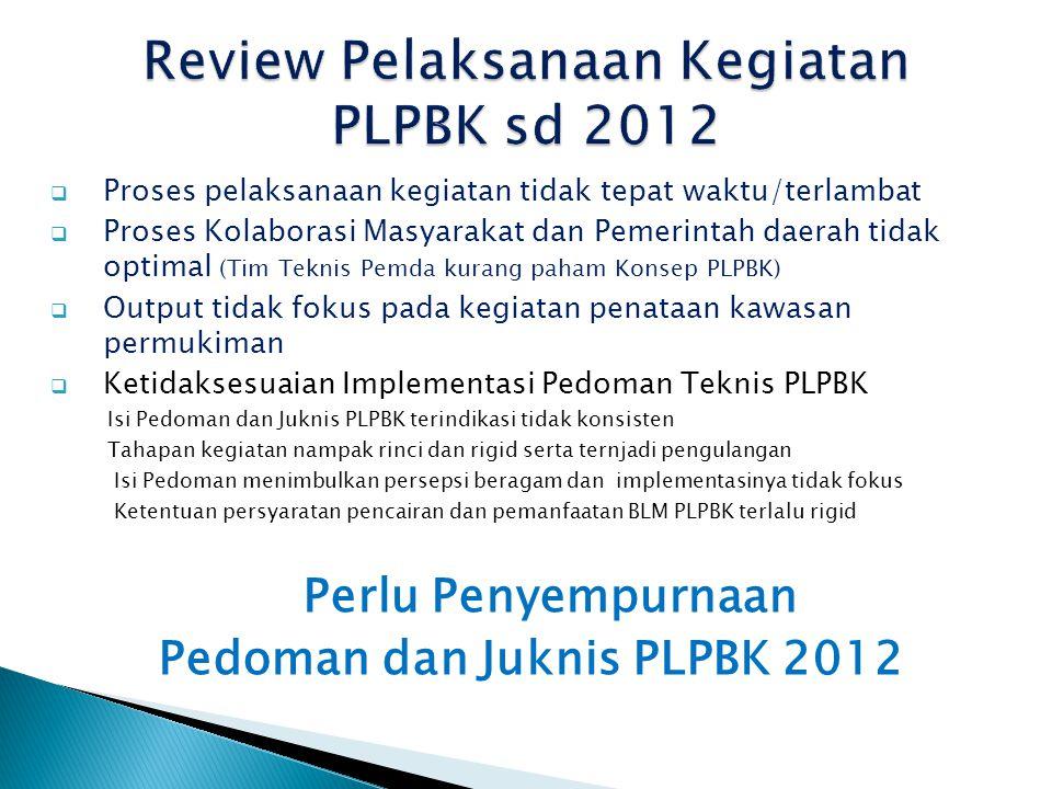 Review Pelaksanaan Kegiatan PLPBK sd 2012