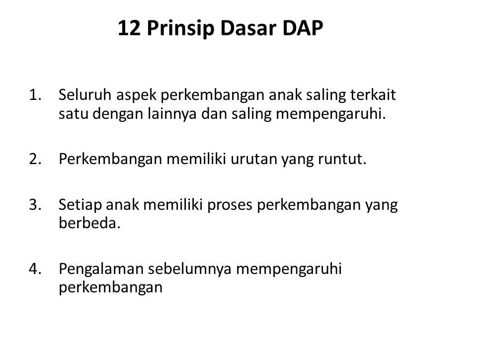 12 Prinsip Dasar DAP Seluruh aspek perkembangan anak saling terkait satu dengan lainnya dan saling mempengaruhi.