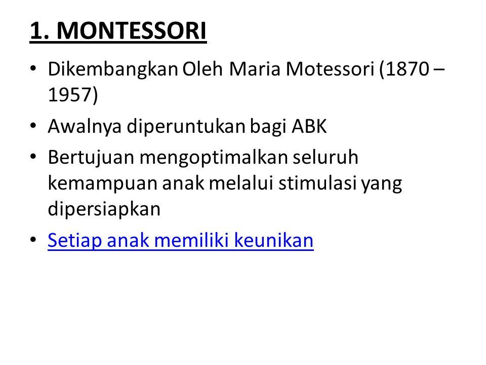 1. MONTESSORI Dikembangkan Oleh Maria Motessori (1870 – 1957)