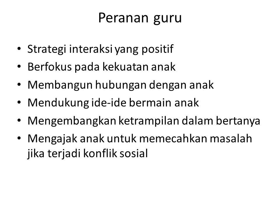 Peranan guru Strategi interaksi yang positif