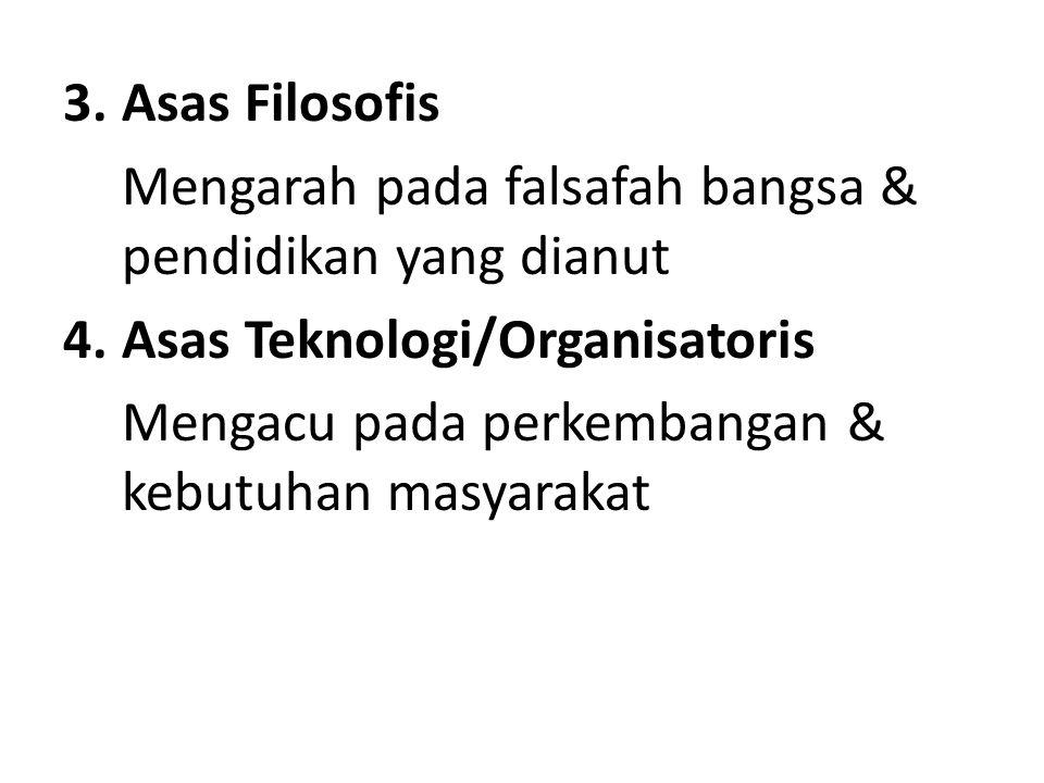 Asas Filosofis Mengarah pada falsafah bangsa & pendidikan yang dianut. Asas Teknologi/Organisatoris.