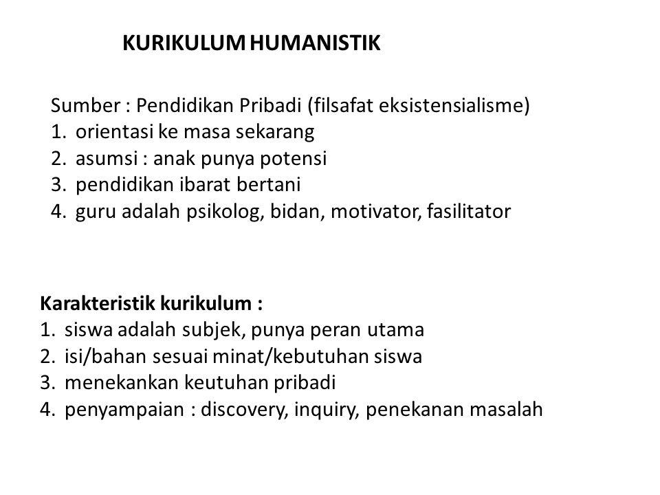 KURIKULUM HUMANISTIK Sumber : Pendidikan Pribadi (filsafat eksistensialisme) orientasi ke masa sekarang.