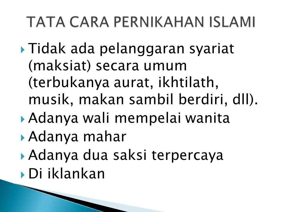 TATA CARA PERNIKAHAN ISLAMI