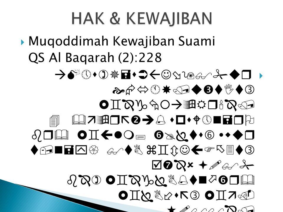 HAK & KEWAJIBAN Muqoddimah Kewajiban Suami QS Al Baqarah (2):228