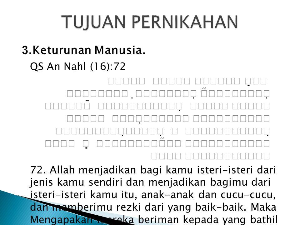 TUJUAN PERNIKAHAN 3.Keturunan Manusia. QS An Nahl (16):72