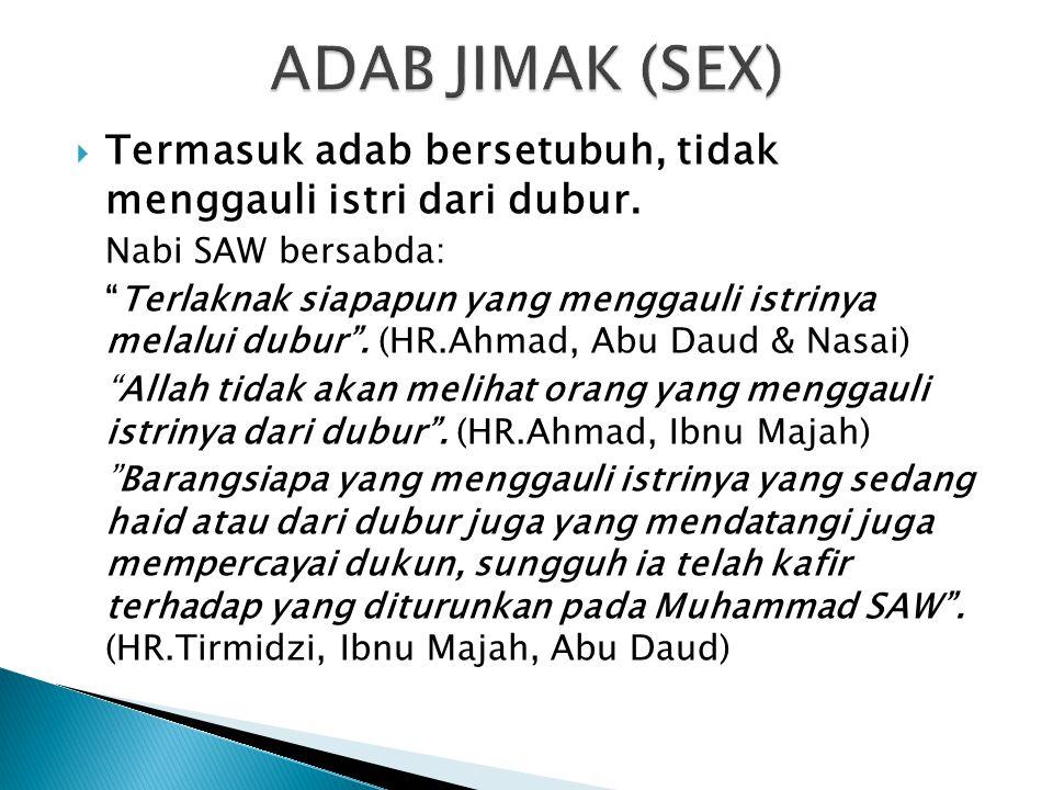 ADAB JIMAK (SEX) Termasuk adab bersetubuh, tidak menggauli istri dari dubur. Nabi SAW bersabda: