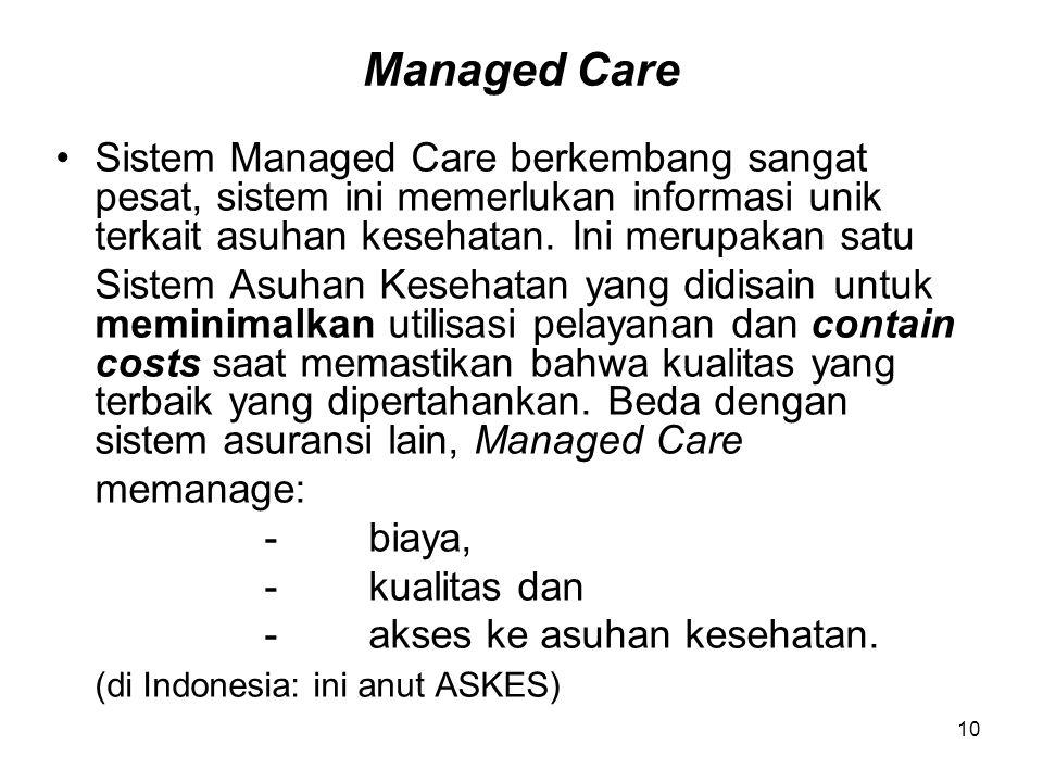 Managed Care Sistem Managed Care berkembang sangat pesat, sistem ini memerlukan informasi unik terkait asuhan kesehatan. Ini merupakan satu.