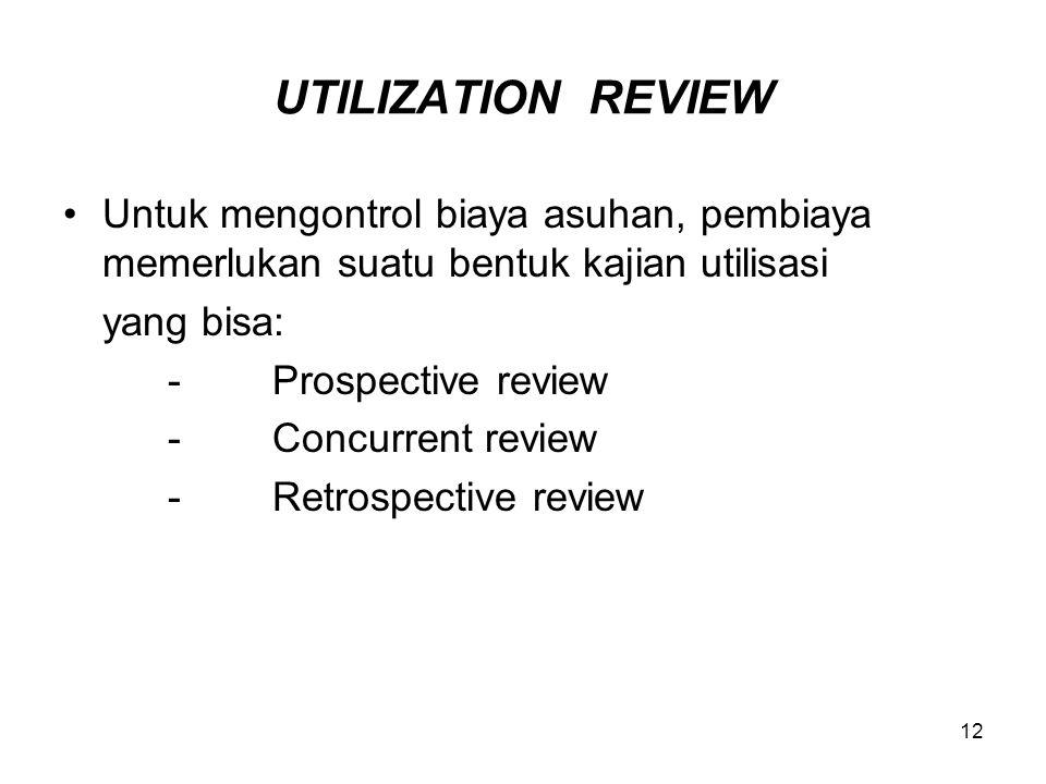 UTILIZATION REVIEW Untuk mengontrol biaya asuhan, pembiaya memerlukan suatu bentuk kajian utilisasi.