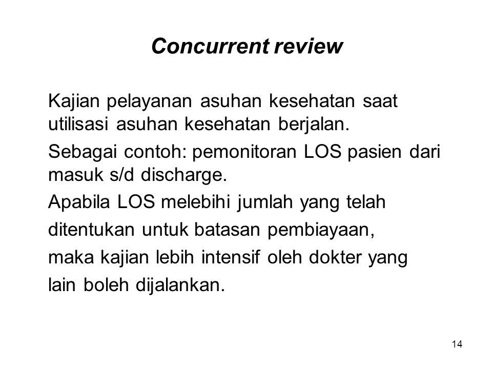 Concurrent review Kajian pelayanan asuhan kesehatan saat utilisasi asuhan kesehatan berjalan.