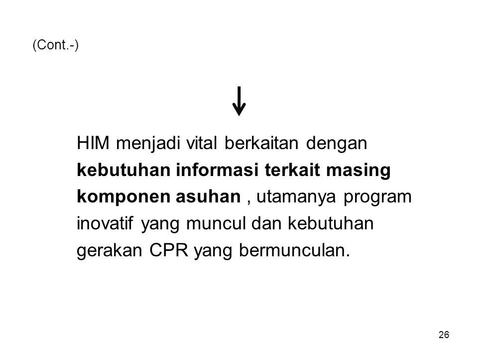 HIM menjadi vital berkaitan dengan kebutuhan informasi terkait masing