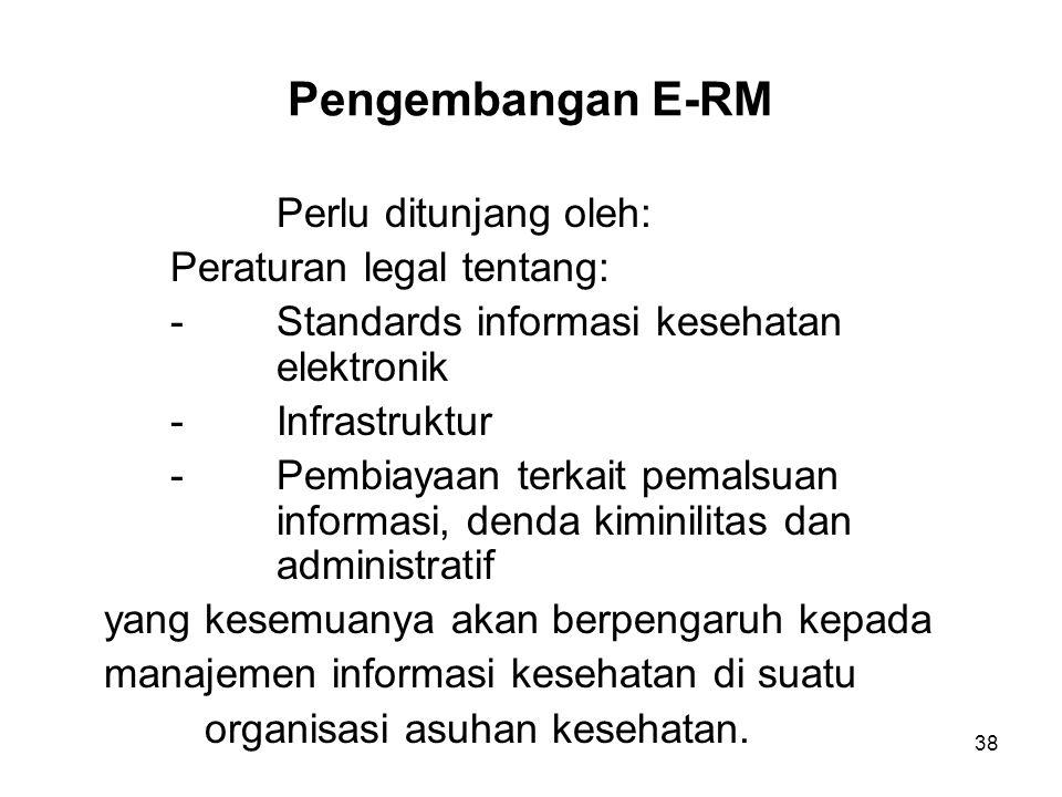Pengembangan E-RM Perlu ditunjang oleh: Peraturan legal tentang: