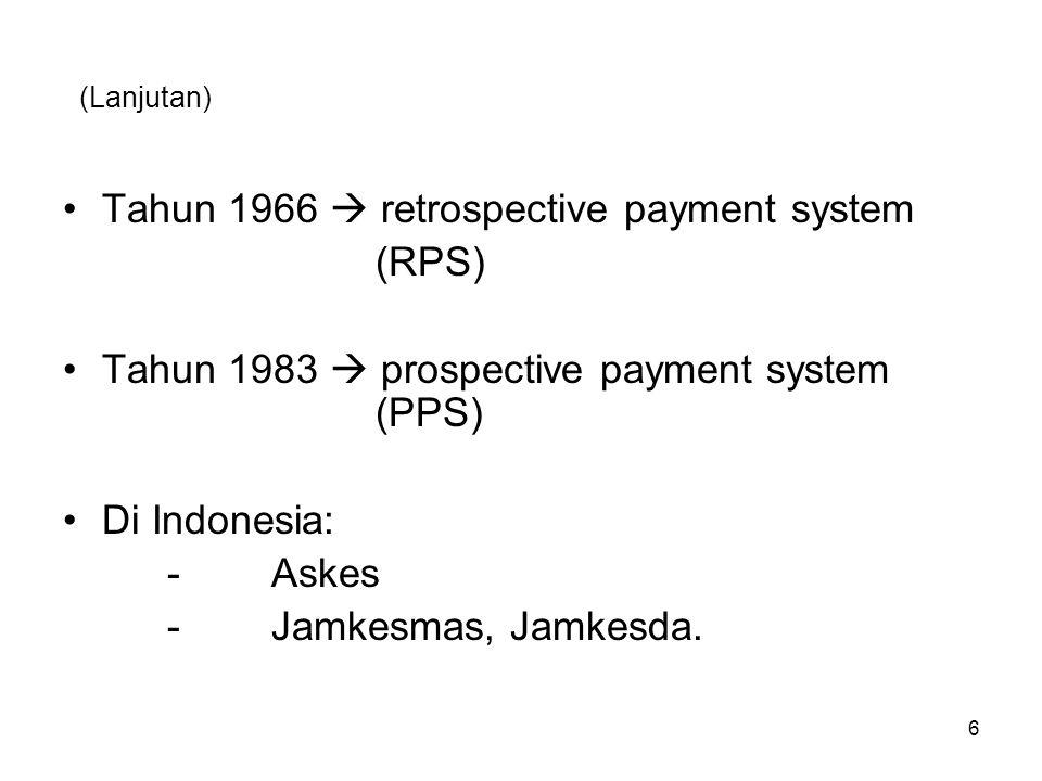 Tahun 1966  retrospective payment system (RPS)