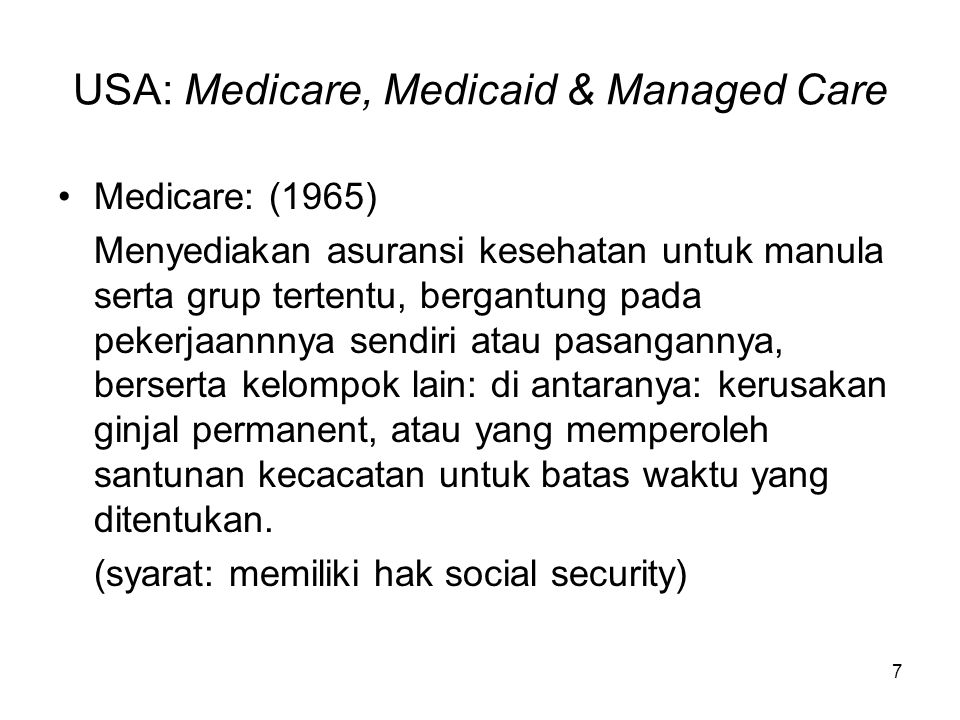 USA: Medicare, Medicaid & Managed Care