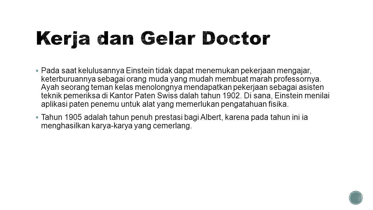 Kerja dan Gelar Doctor