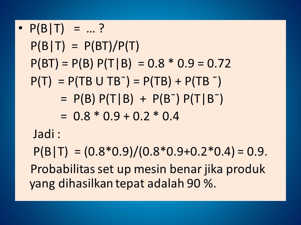 P(B|T) = … P(B|T) = P(BT)/P(T) P(BT) = P(B) P(T|B) = 0.8 * 0.9 = 0.72. P(T) = P(TB U TBˉ) = P(TB) + P(TB ˉ)