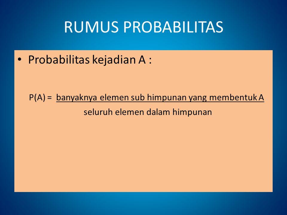 RUMUS PROBABILITAS Probabilitas kejadian A :
