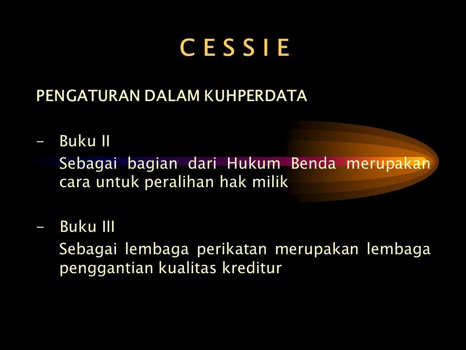 C E S S I E PENGATURAN DALAM KUHPERDATA - Buku II