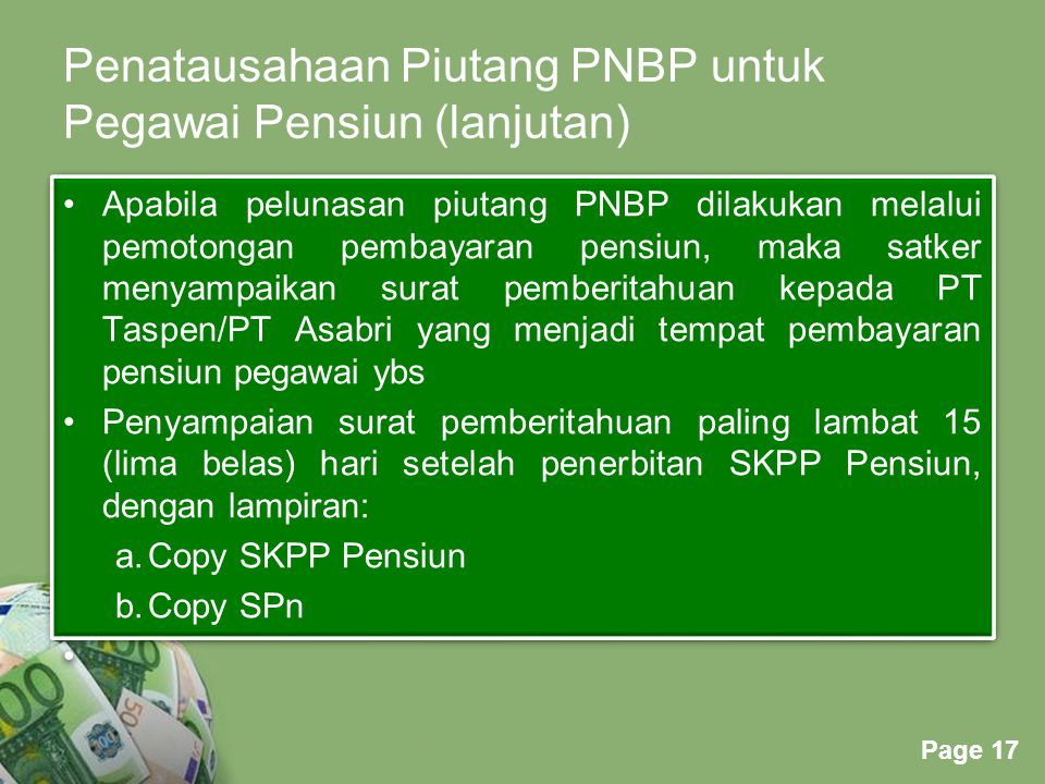 Penatausahaan Piutang PNBP untuk Pegawai Pensiun (lanjutan)