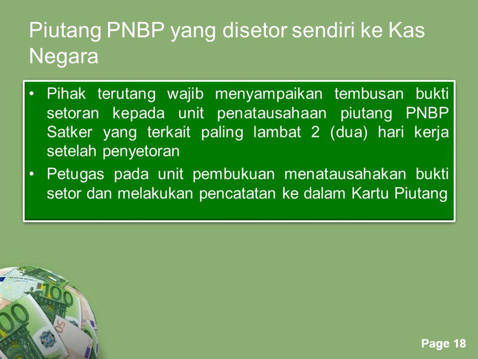 Piutang PNBP yang disetor sendiri ke Kas Negara