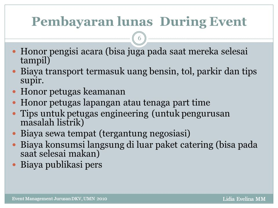 Pembayaran lunas During Event
