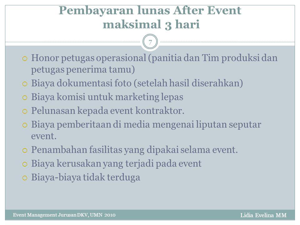 Pembayaran lunas After Event maksimal 3 hari