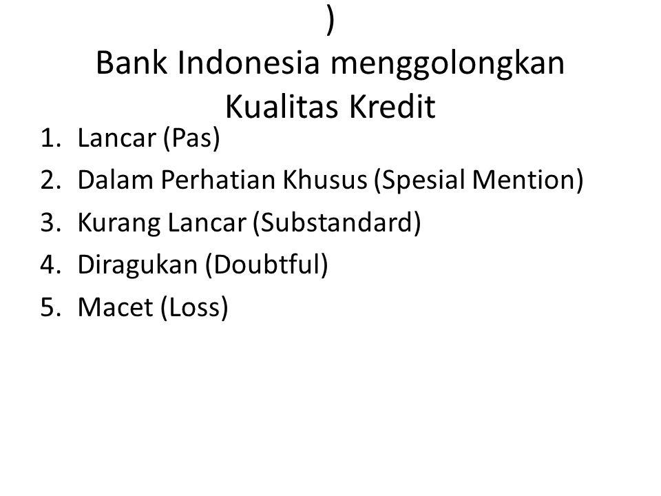 ) Bank Indonesia menggolongkan Kualitas Kredit