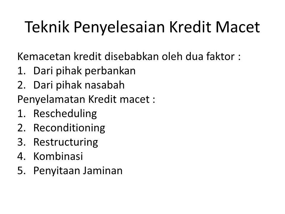 Teknik Penyelesaian Kredit Macet