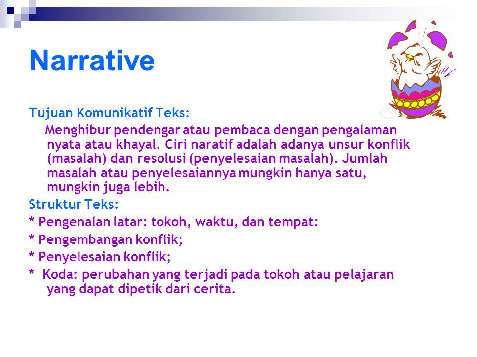 Narrative Tujuan Komunikatif Teks: