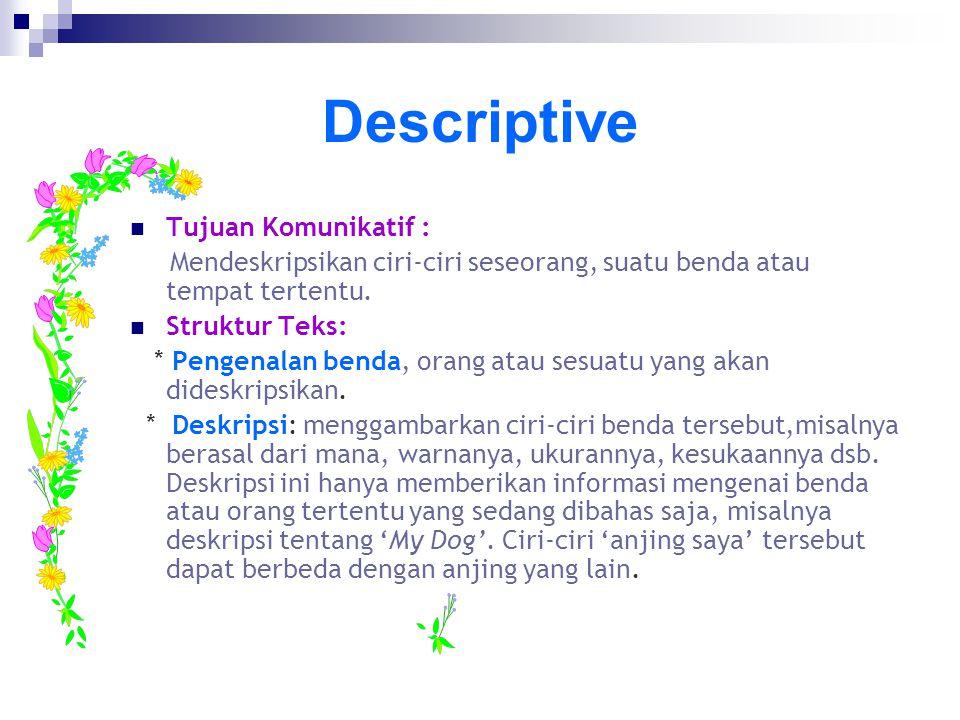 Descriptive Tujuan Komunikatif :