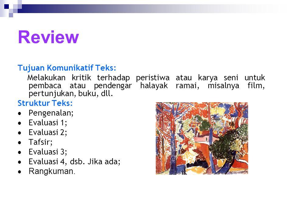 Review Tujuan Komunikatif Teks: