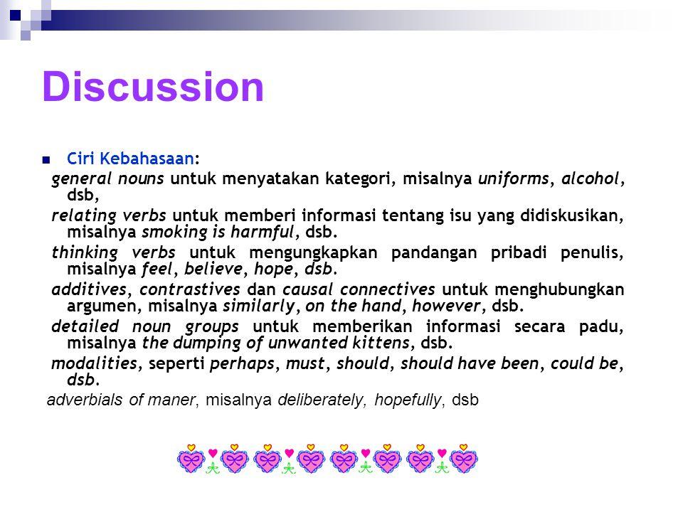Discussion Ciri Kebahasaan: