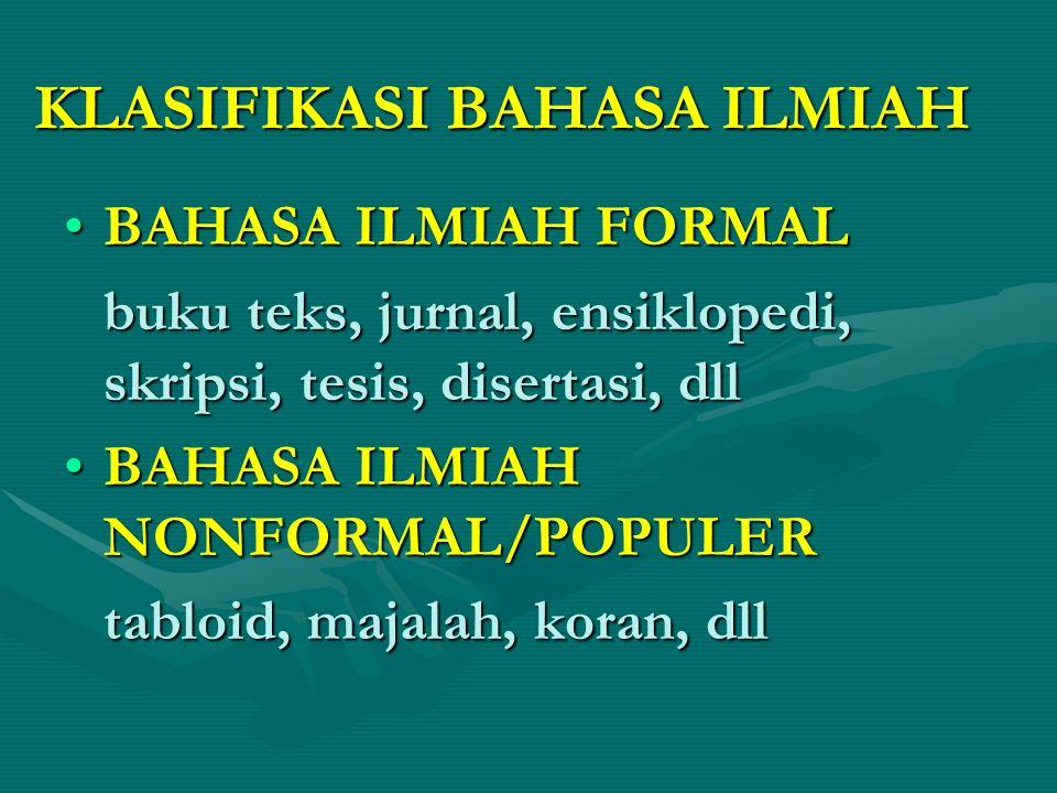 KLASIFIKASI BAHASA ILMIAH