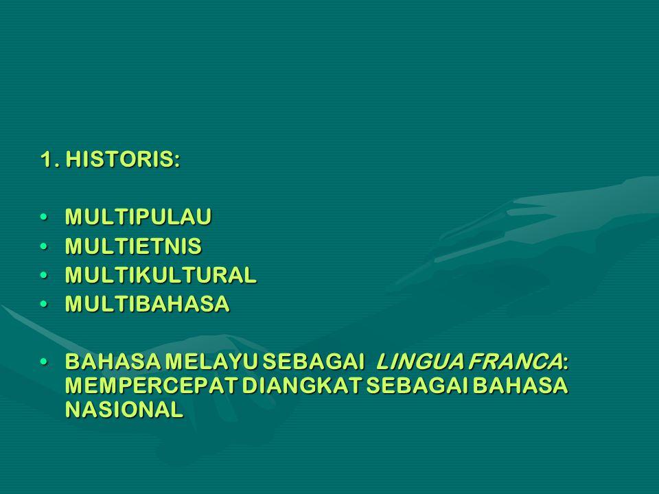 1. HISTORIS: MULTIPULAU. MULTIETNIS. MULTIKULTURAL. MULTIBAHASA.