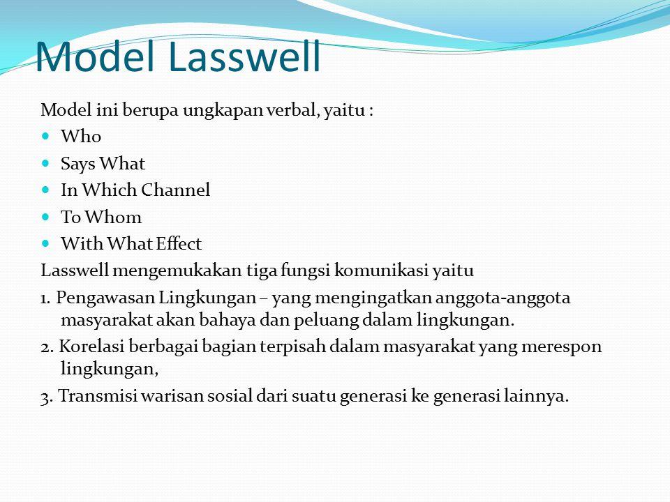 Model Lasswell Model ini berupa ungkapan verbal, yaitu : Who Says What