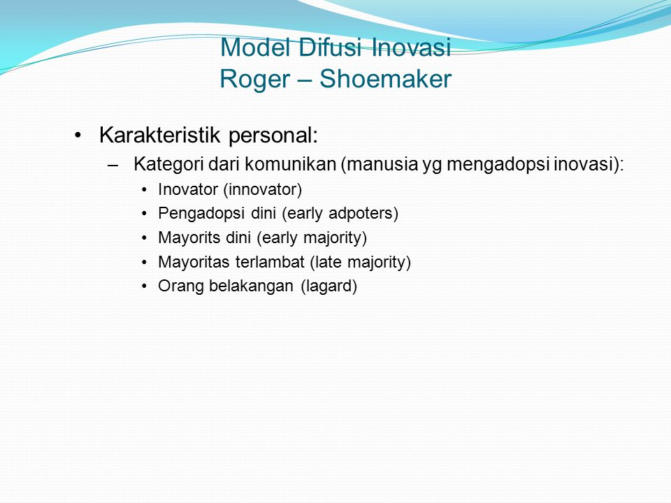 Model Difusi Inovasi Roger – Shoemaker