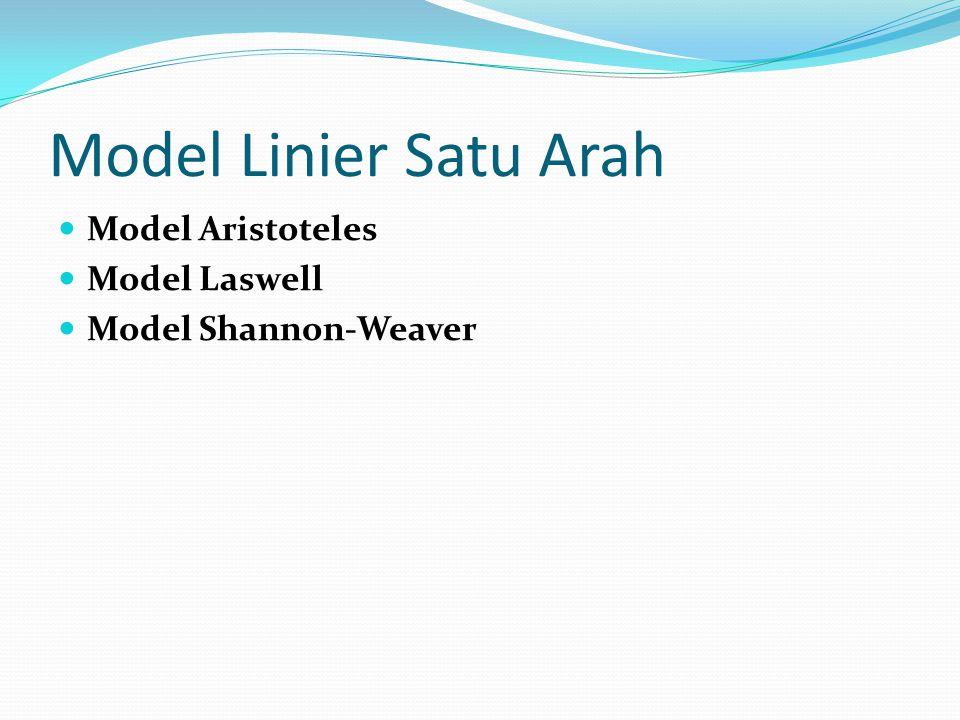 Model Linier Satu Arah Model Aristoteles Model Laswell