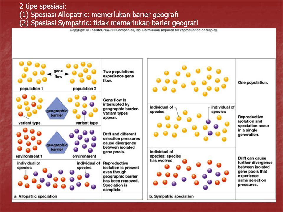 2 tipe spesiasi: (1) Spesiasi Allopatric: memerlukan barier geografi.