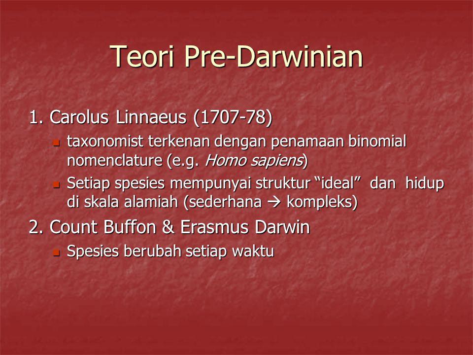 Teori Pre-Darwinian 1. Carolus Linnaeus (1707-78)