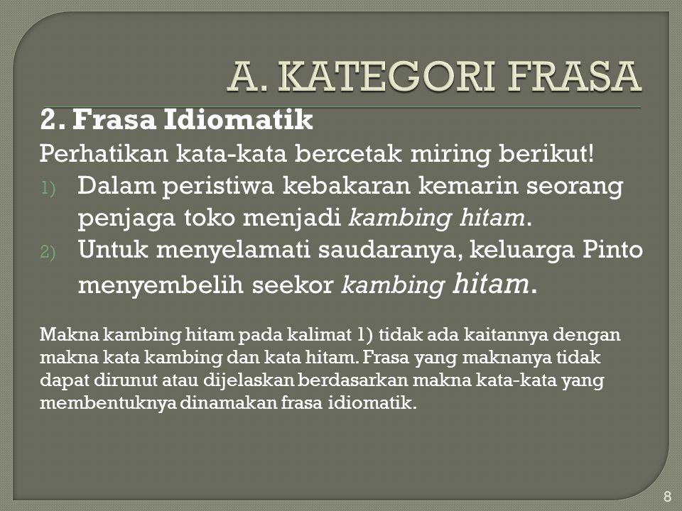 A. KATEGORI FRASA 2. Frasa Idiomatik