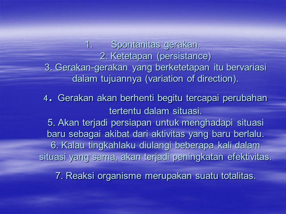 Spontanitas gerakan. 2. Ketetapan (persistance) 3