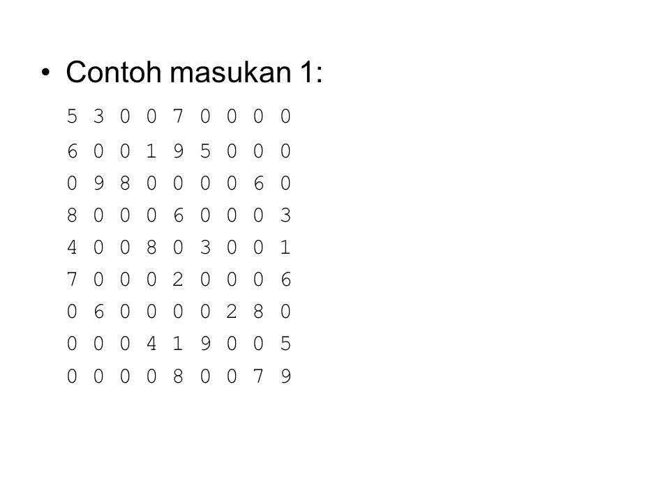 Contoh masukan 1: 5 3 0 0 7 0 0 0 0. 6 0 0 1 9 5 0 0 0. 0 9 8 0 0 0 0 6 0. 8 0 0 0 6 0 0 0 3. 4 0 0 8 0 3 0 0 1.