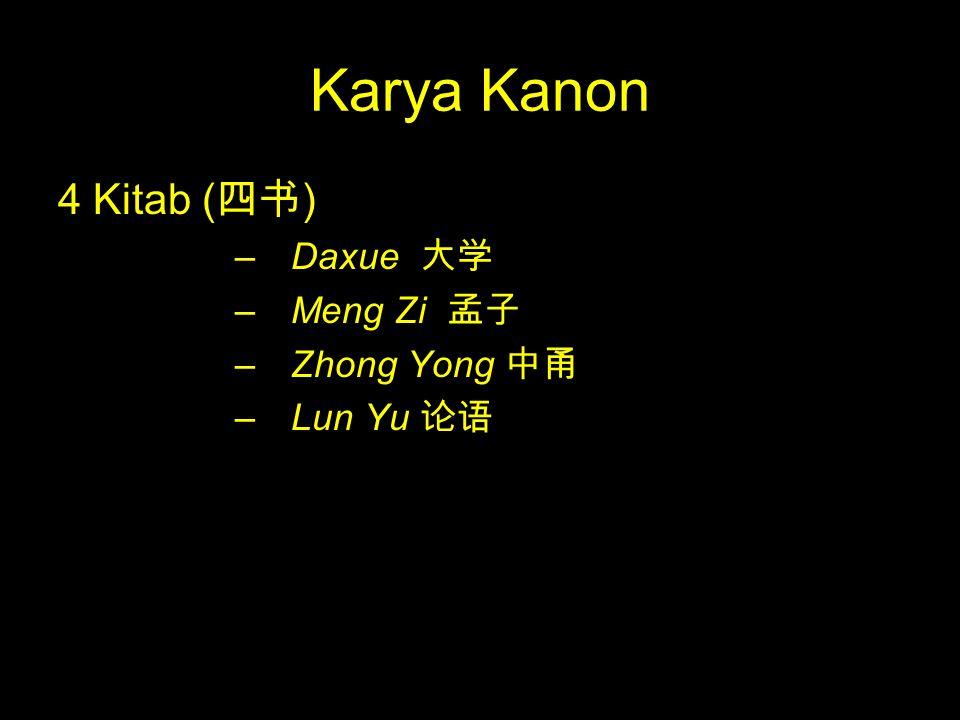 Karya Kanon 4 Kitab (四书) Daxue 大学 Meng Zi 孟子 Zhong Yong 中甬 Lun Yu 论语