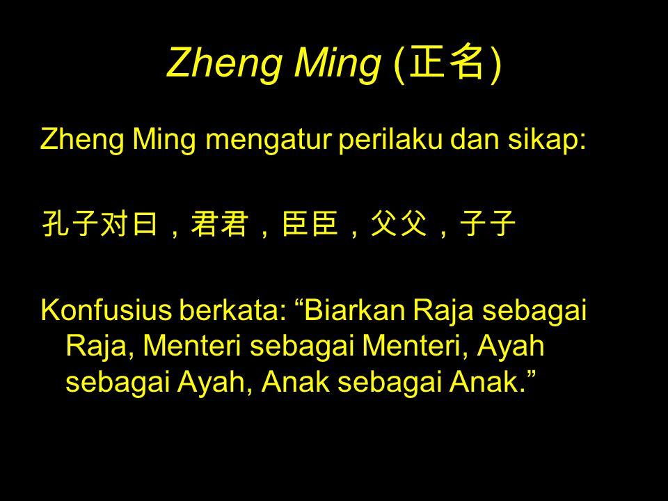 Zheng Ming (正名) Zheng Ming mengatur perilaku dan sikap: