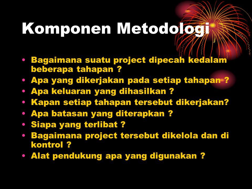 Komponen Metodologi Bagaimana suatu project dipecah kedalam beberapa tahapan Apa yang dikerjakan pada setiap tahapan
