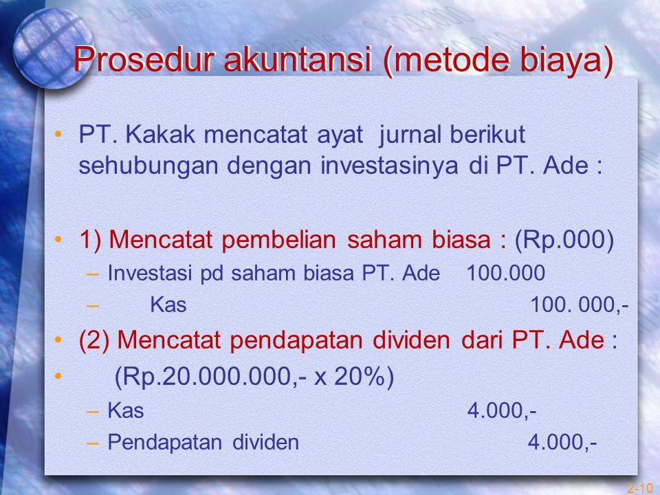 Prosedur akuntansi (metode biaya)