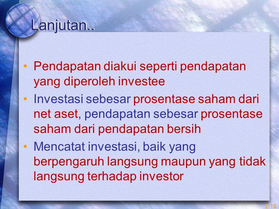 Lanjutan.. Pendapatan diakui seperti pendapatan yang diperoleh investee.