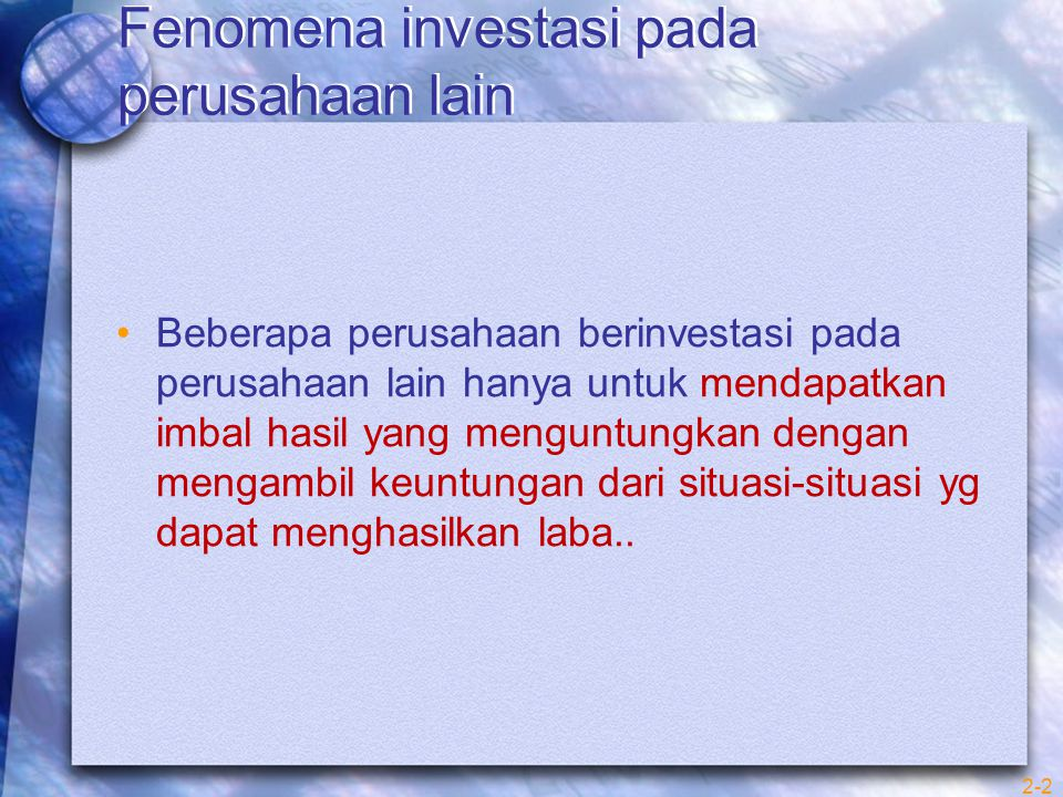 Fenomena investasi pada perusahaan lain