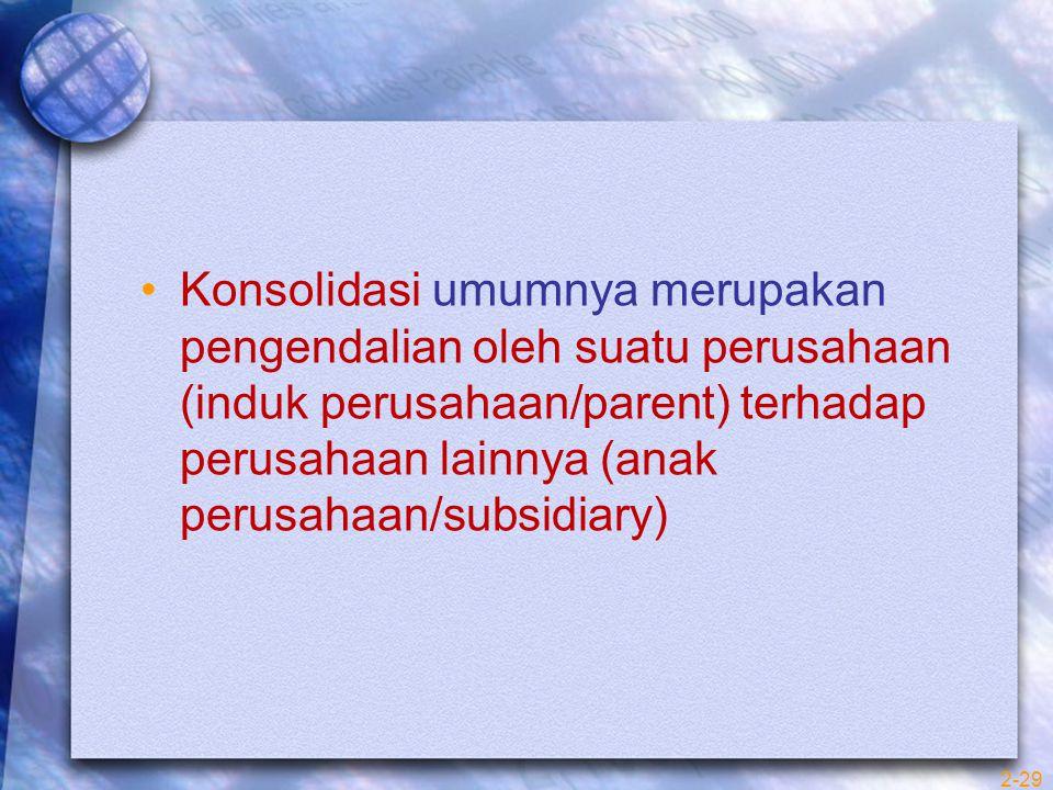 Konsolidasi umumnya merupakan pengendalian oleh suatu perusahaan (induk perusahaan/parent) terhadap perusahaan lainnya (anak perusahaan/subsidiary)