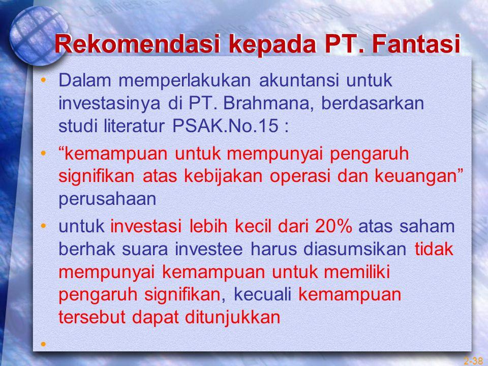Rekomendasi kepada PT. Fantasi